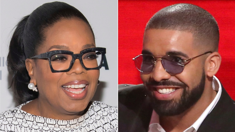 Oprah Winfrey in New York on March 6, 2018, left, and Drake in Los Angeles on Nov. 20, 2016. (Photos by Charles Sykes, left, and Matt Sayles / Invision / AP)