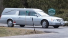 A hearse leaves with another casualty of COVID-19 at Pinecrest Nursing Home in Bobcaygeon, Ontario on Tuesday March 31, 2020. The Haliburton, Kawartha, Pine Ridge District Health Unit has said the outbreak at Pinecrest Nursing Home in Bobcaygeon is believed to be the largest in the province. THE CANADIAN PRESS/Fred Thornhill