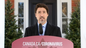 Prime Minister Justin Trudeau addresses Canadians on the COVID-19 pandemic from Rideau Cottage in Ottawa on Wednesday, April 1, 2020. THE CANADIAN PRESS/Sean Kilpatrick