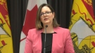 Dr. Jennifer Russell, New Brunswick's chief medical officer of health, provides an update on COVID-19 during a news conference on April 1, 2020.