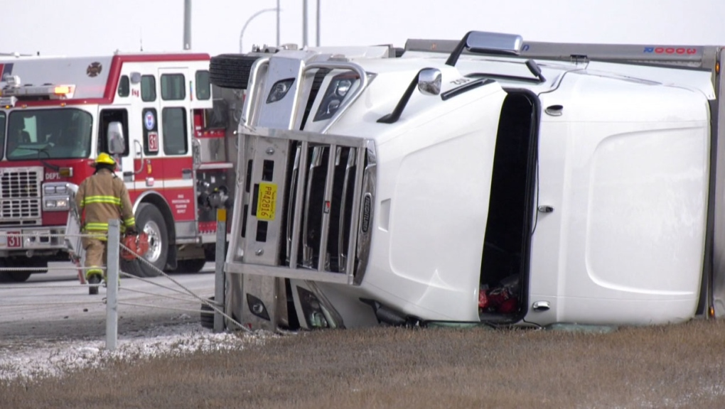 calgary, rollover, stoney trail, crash, serious in