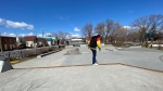 Skateboarders at McNab Park in Ottawa ignore city by-laws that the skate park is closed. April 01, 2020. (Tyler Fleming / CTV News Ottawa)