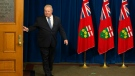 Ontario Premier Doug Ford arrives for a press briefing at the Ontario Legislature, in Toronto, Saturday, March 28, 2020. THE CANADIAN PRESS/Chris Young