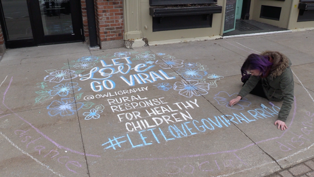 As part of the 'Let Love Go Viral' campaign, Huron County, Ont. residents can have professional chalk art done for a donation.