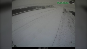 A highway camera near Brandon shows snow-covered roads on the Trans-Canada Highway (Courtesy: Manitoba 511)
