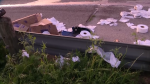 A tractor-trailer carrying a load of toilet paper crashed, caught fire and spilled its cargo along Interstate 20 in Hutchins, Texas, on April 1, 2020. (Credit: KDFW-FOX 4 NEWS)