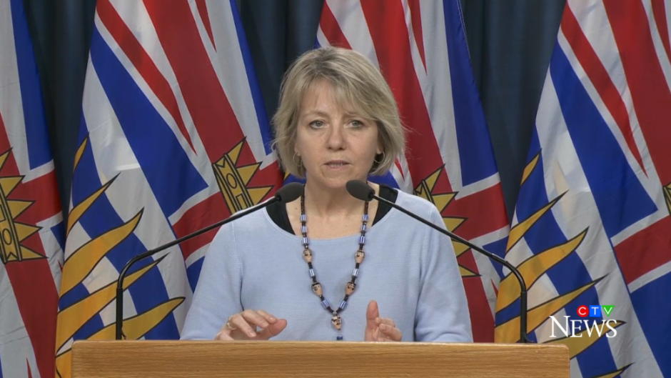 B.C. provincial health officer Dr. Bonnie Henry announces 53 new COVID-19 infections and one more death related to the virus in a briefing from Victoria on April 1, 2020.
