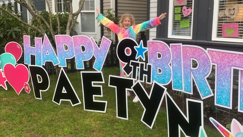 The entire community of Osprey Village came together in a socially responsible way to celebrate nine-year-old Paetyn Reid's birthday. (Vanessa Reid)