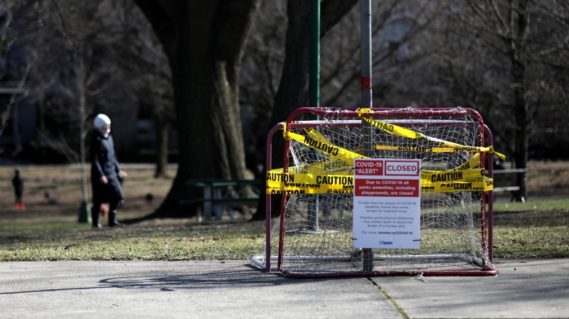 Out-of-bounds ball hockey nets are seen in a park in downtown Toronto on Wednesday, April 1, 2020. The city has seen increasingly stricter measures to ensure social distancing in the fight against COVID-19. THE CANADIAN PRESS/Colin Perkel