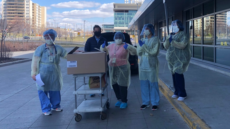 'Feed Our Heroes' drops off food at Humber River Hospital. (Beth Macdonell/CTV News Toronto)