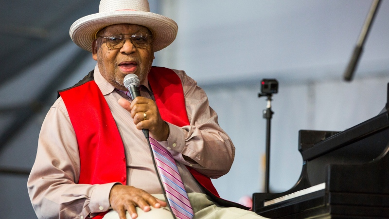 This April 28, 2019, file photo, shows Ellis Marsalis during the New Orleans Jazz & Heritage Festival in New Orleans. (AP Photo/Sophia Germer, File