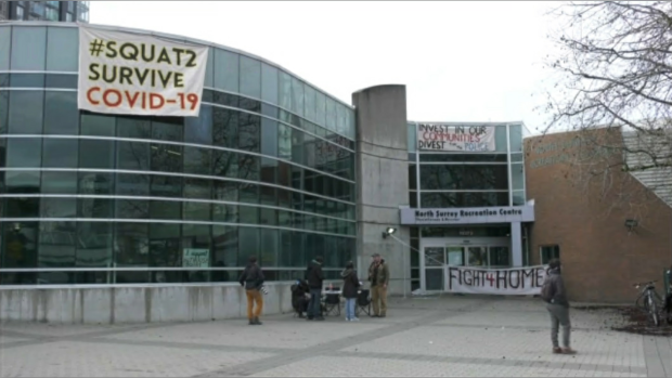 Homeless activists and their supporters occupied the recently closed North Surrey Recreation Centre for several hours Wednesday night to call attention to the danger the COVID-19 pandemic poses to people living on the streets or in insufficient housing. (CTV)
