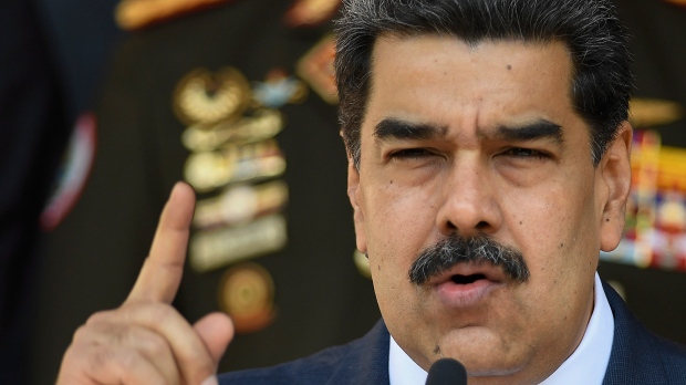 In this March 12, 2020, file photo, Venezuelan President Nicolas Maduro speaks at a press conference at the Miraflores Presidential Palace in Caracas, Venezuela. (AP Photo/Matias Delacroix, File)