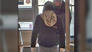 Surveillance image of the suspect in an April 1 bank robbery at the BMO branch in Westwinds (CPS)