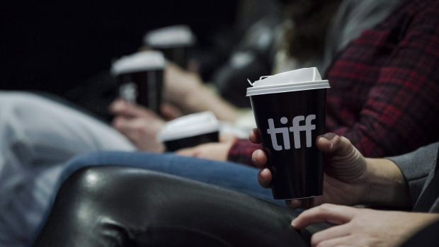 People have coffee during a talk at the TIFF Bell Lightbox in Toronto on Friday, December 1, 2017. The TIFF Bell Lightbox in downtown Toronto will be closed for a month starting Saturday evening until mid-April. THE CANADIAN PRESS/Christopher Katsarov