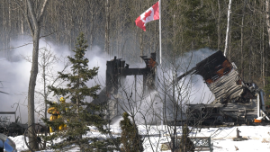 Fire devastates home in Estaire, Ont. on Apr. 2/20 (Ian Campbell/CTV Northern Ontario)