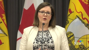 Dr. Jennifer Russell, New Brunswick's chief medical officer of health, provides an update on COVID-19 during a news conference in Fredericton on April 2, 2020.