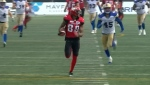 Kamar Jorden scampers past the Blue Bombers secondary for a touchdown during the 2018 CFL season