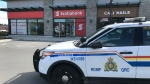 Officers are on scene at the Scotiabank at the Westshore Town Centre on April 2, 2020. (CTV News)