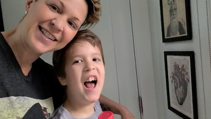Alisa Hutton from Vancouver and her 11-year-old son, Noah, are seen here.