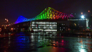 Jacques Cartier Bridge with rainbow lights / Cosmo Santamaria CTV Montreal