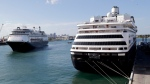 Carnival's Holland America cruise ship Rotterdam, left, arrives at Port Everglades as the Zaandam, right, is docked in Fort Lauderdale, Fla. during the new coronavirus pandemic, on April 2, 2020. (Lynne Sladky / AP)