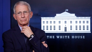 Dr. Anthony Fauci, director of the National Institute of Allergy and Infectious Diseases, at the White House in Washington, on April 1, 2020. (Alex Brandon / AP)