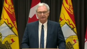 New Brunswick Premier Blaine Higgs provides an update on COVID-19 during a news conference in Fredericton on April 2, 2020.