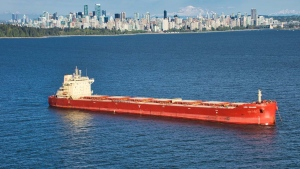 A freighter in Vancouver's English Bay. (File photo)