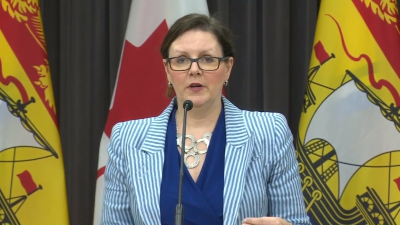 Dr. Jennifer Russell, New Brunswick's chief medical officer of health, provides an update on COVID-19 during a news conference in Fredericton on April 3, 2020.