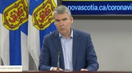 Nova Scotia Premier Stephen McNeil provides an update on COVID-19 during a news conference in Halifax on April 3, 2020.