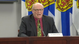 Nova Scotia's chief medical officer of health, Dr. Robert Strang, provides an update on COVID-19 during a news conference in Halifax on April 3, 2020.