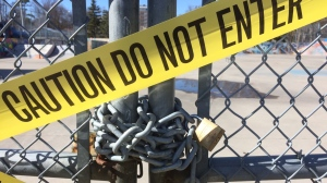 Queen's Park skatepark in Barrie, Ontario, has been closed to the public during the COVID-19 pandemic. (Dave Erskine/CTV News)