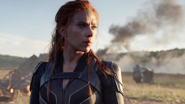 Scarlett Johansson in a scene from 'Black Widow.'  (Marvel Studios / Disney via AP)