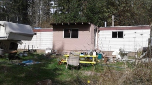 Police and firefighters were called to the mobile-home fire on Thursday afternoon: April 3, 2020 (CTV News)