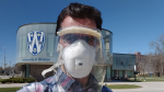 Hamed Kamari and researchers at the University of Windsor's Faculty of Engineering have designed an innovative face shield in Windsor, Ont., on Friday, April 3, 2020. (Courtesy Hamed Kamari)