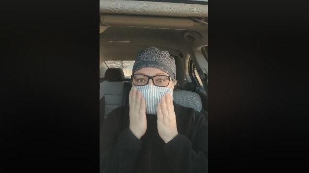 LHSC nurse Stacey Brown seen in a screen grab from a Facebook post on April 2, 2020.  (Stacey Brown/Facebook)