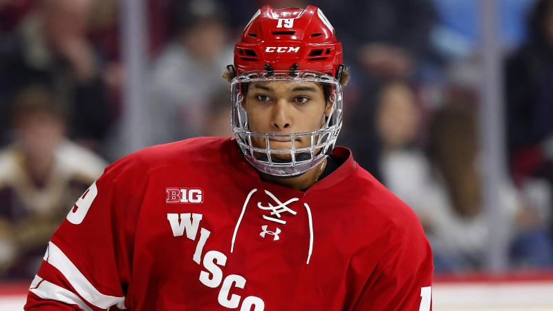In this Oct. 11, 2019, file photo, Wisconsin's K'Andre Miller is shown during an NCAA college hockey game against Boston College in Chestnut Hill, Mass. The New York Rangers announced Monday, March 16, 2020, that the team has agreed to terms with defenseman K'Andre Miler. (AP Photo/Winslow Townson, File)