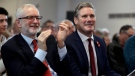 In this Tuesday, Nov. 5, 2019 file photo, Britain's opposition Labour party leader Jeremy Corbyn, left, and Keir Starmer Labour's Shadow Secretary of State for Exiting the European Union applaud Labour Prospective Parliamentary Candidate for Harlow Laura McAlpine's speech during their election campaign event on Brexit in Harlow, England. (AP Photo/Matt Dunham, File)