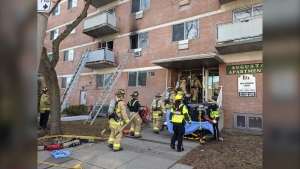 A man and woman suffered critical burns in a Saturday morning fire on Augusta Street in Lowertown. (Scott Stilborn/Ottawa Fire Service)