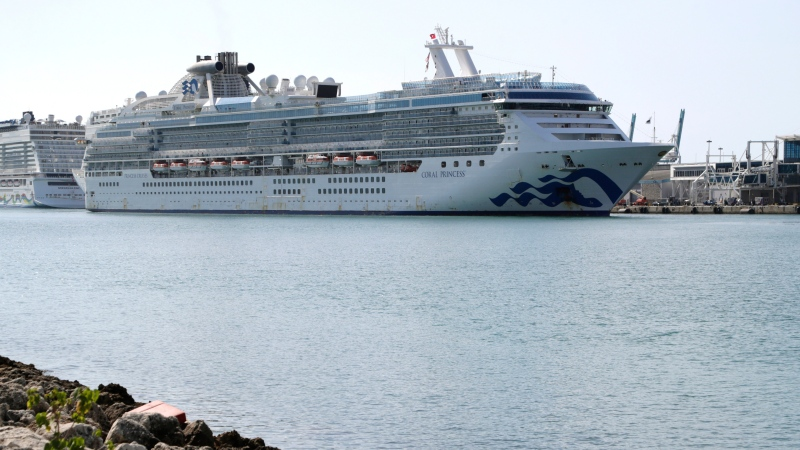 The Coral Princess cruise ship arrives at PortMiami during the new coronavirus outbreak, Saturday, April 4, 2020, in Miami. (AP Photo/Lynne Sladky)