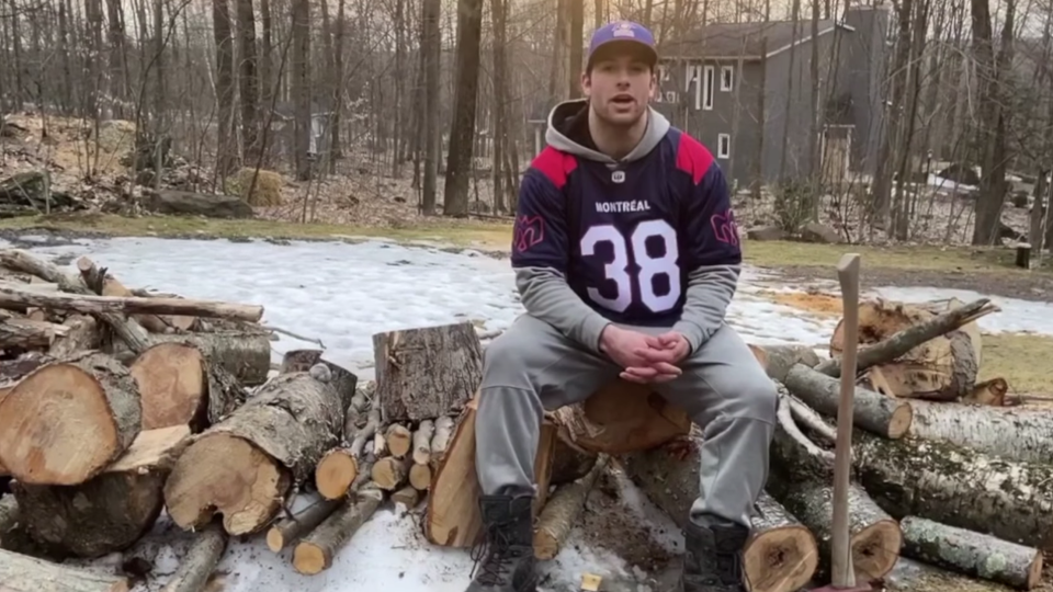 Christophe Normand has used his isolation time chapping trees and hauling wood, as the Montreal Alouettes fullback waits for news of the CFL season. SOURCE Alouettes Facebook
