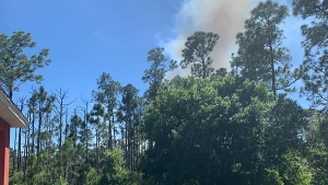 Firefighters were called to a home in Brevard County, Fla., after reports that a blaze was possibly ignited by fireworks, fire officials said. (Brevard County Fire Rescue)
