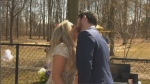 Kyle Simourd and Krystal Pimcombe got married in their backyard on Saturday with guests watching on Facebook.