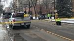Crash in the Grandin neighbourhood on April 4, 2020. (Brandon Lynch/CTV News Edmonton)