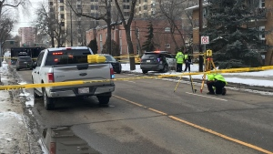 Crash in the Grandin neighbourhood on April 4, 2020. (Brandon Lynch/CTV News Edmonton)