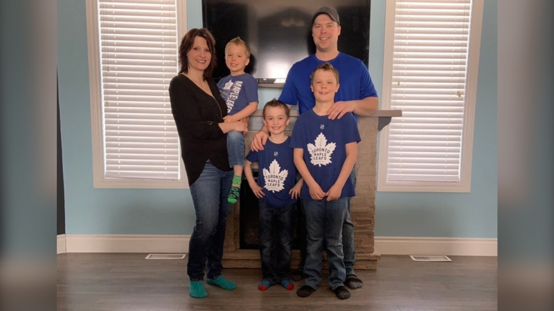 The whole Larocque family from Cochrane, Ont., except the youngest, has tested positive for COVID-19 after the father was exposed at work. (Supplied)