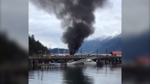 At least two boats caught fire in Horseshoe Bay Saturday afternoon. (@captphilevans/Twitter)