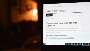 The employment insurance section of the Government of Canada website is shown on a laptop in Toronto on April 4, 2020. (THE CANADIAN PRESS / Jesse Johnston)