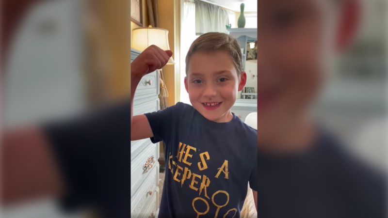 A six-year-old U.S. boy with a genetic disorder has recovered after contracting the coronavirus, saying in a viral video that he is a 'cystic fibrosis warrior' and he 'beat COVID-19.' (Sabrina Bostain via Storyful)